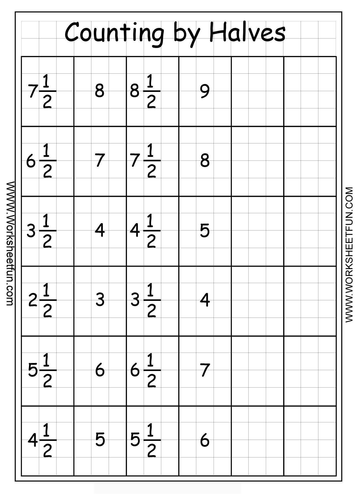Fractions Counting By Halves Free Printable Worksheets