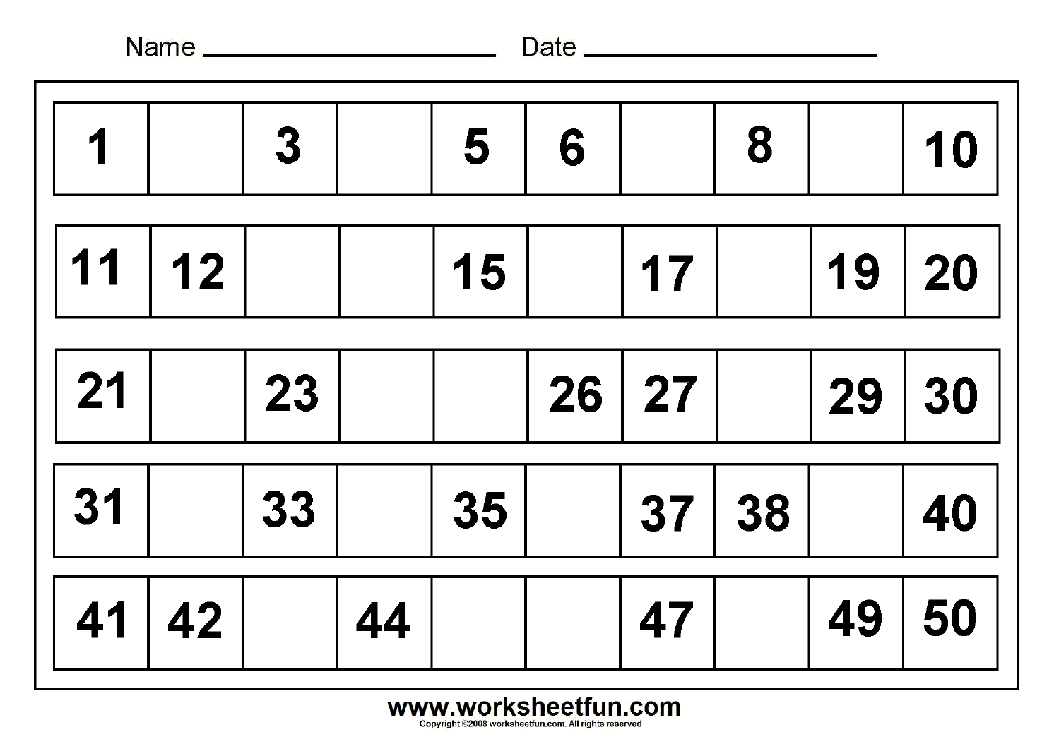 Beautiful Missing Numbers 1 To 50 8 Worksheets Free