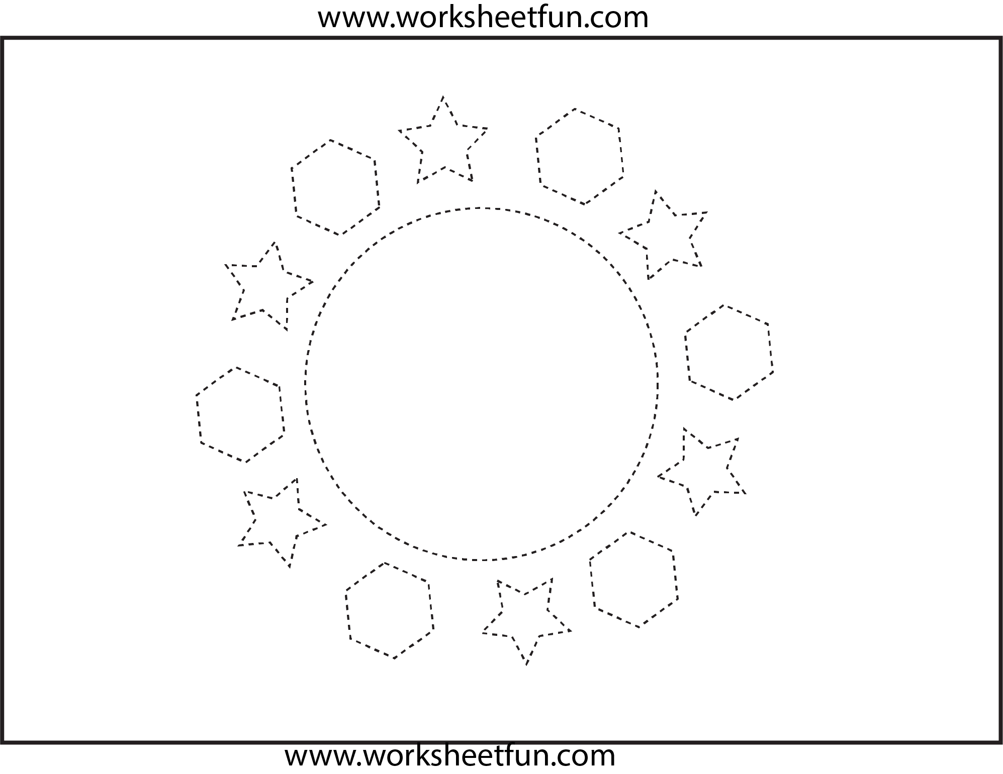 Shapes Circle Hexagon Star 1 Worksheet Free Printable Worksheets Worksheetfun