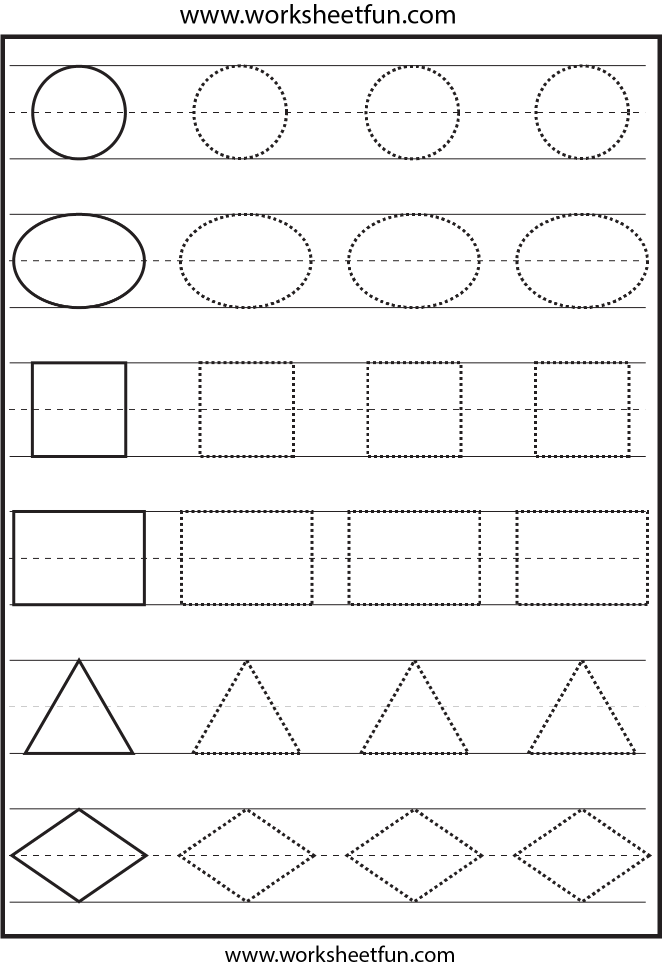 Shapes Tracing 1 Worksheet Free Printable Worksheets Worksheetfun