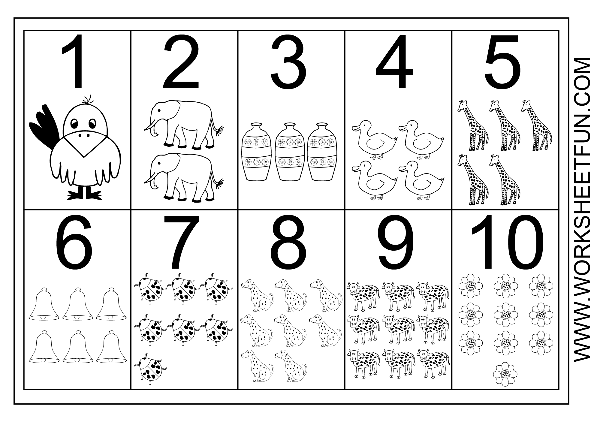 Picture Number Chart 1 10 Free Printable Worksheets