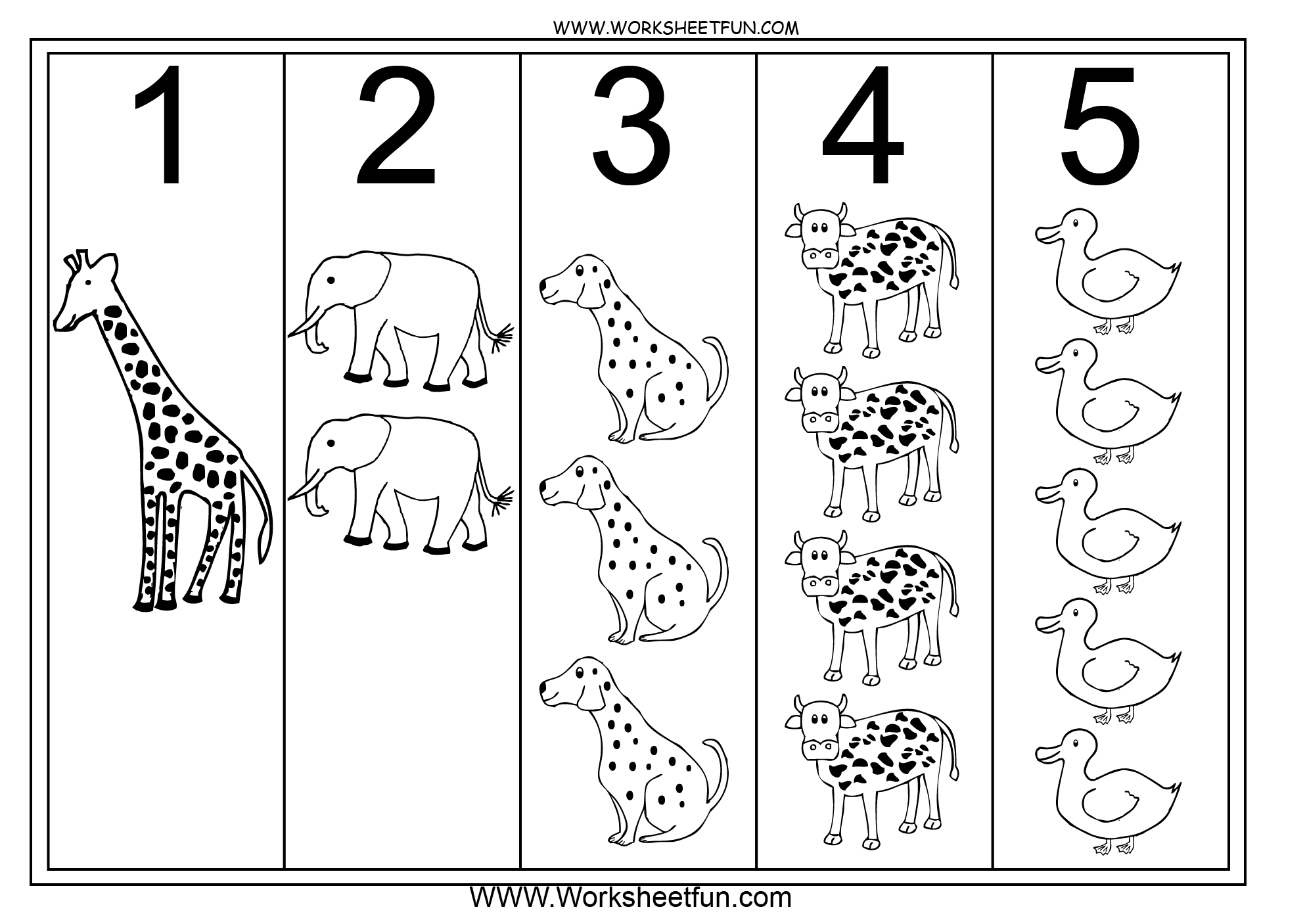 Picture Number Chart 1 5 And 6 10 2 Worksheets Free
