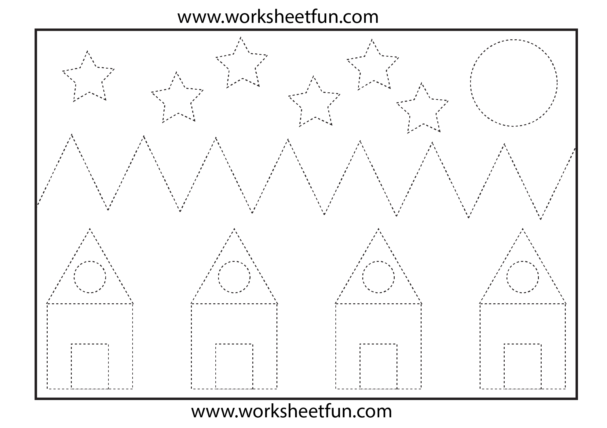 Worksheets House Landscape And Tracing Worksheets On