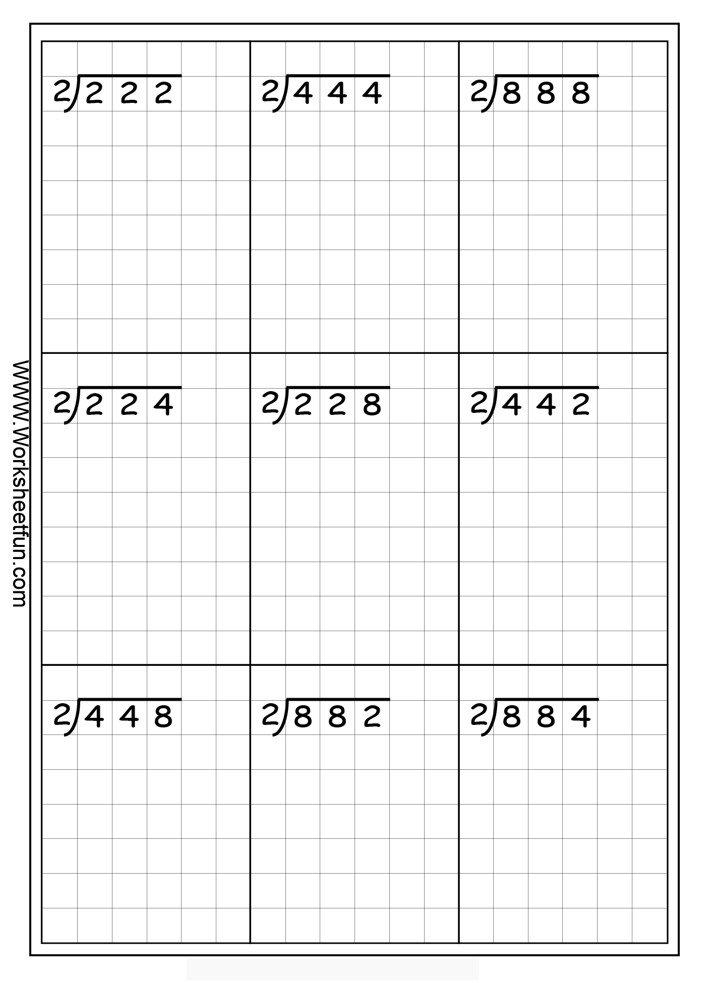 Worksheet Long Division Grade 3