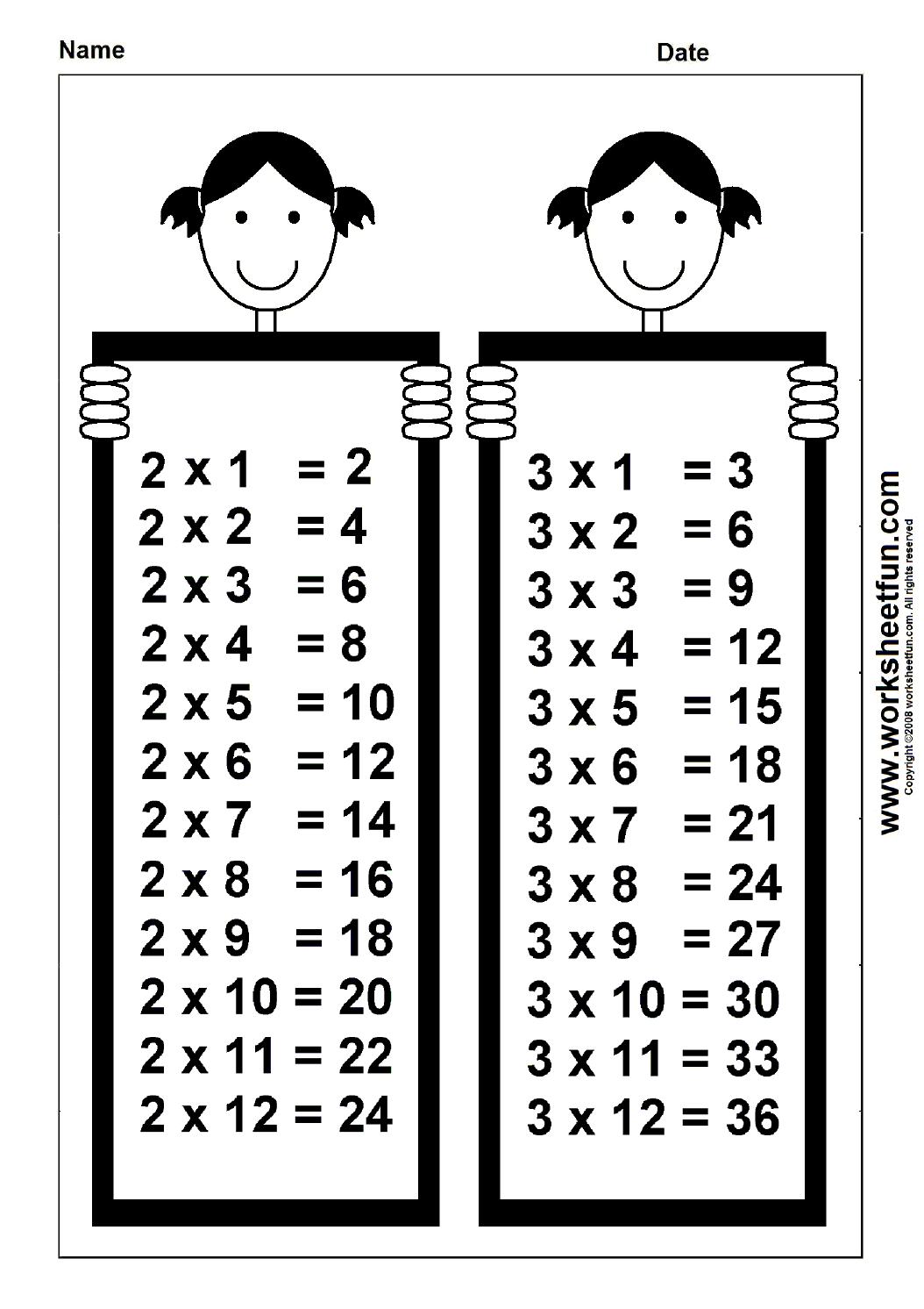 Times Table Chart 2 Amp 3 Free Printable Worksheets Worksheetfun