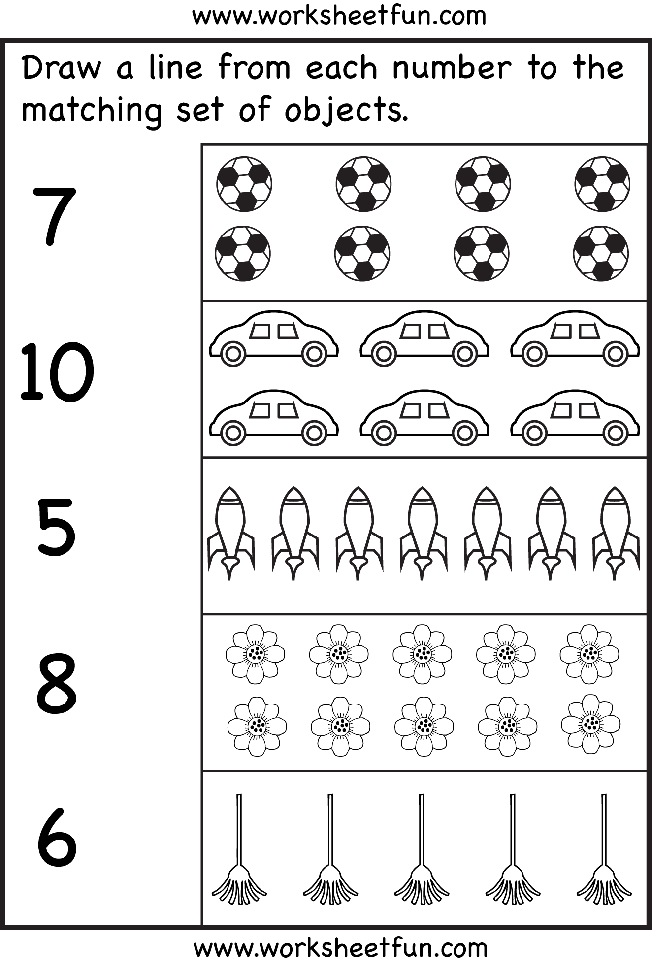 Number Matching Worksheets 1 20