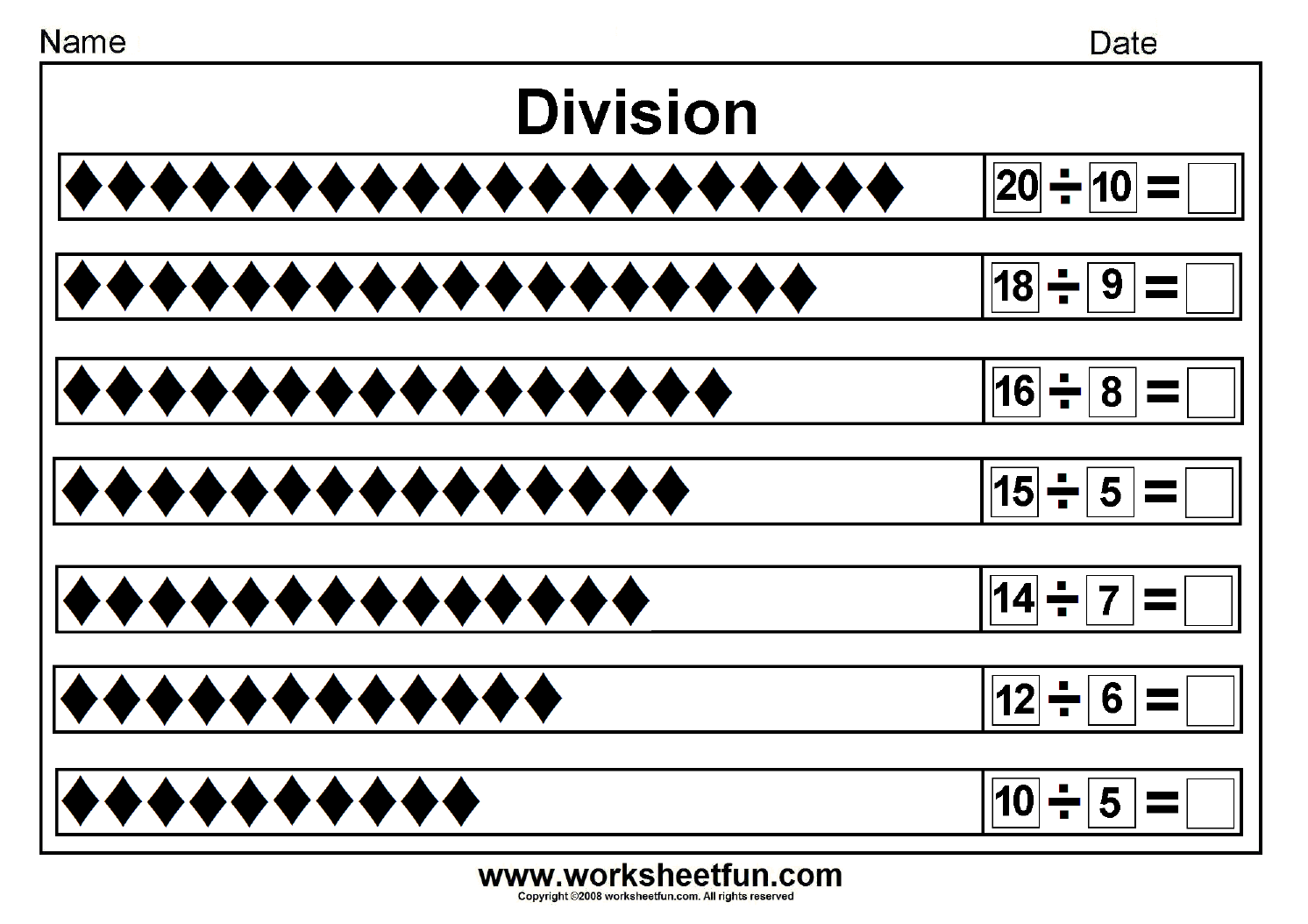 Basic Division As Sharing Worksheet