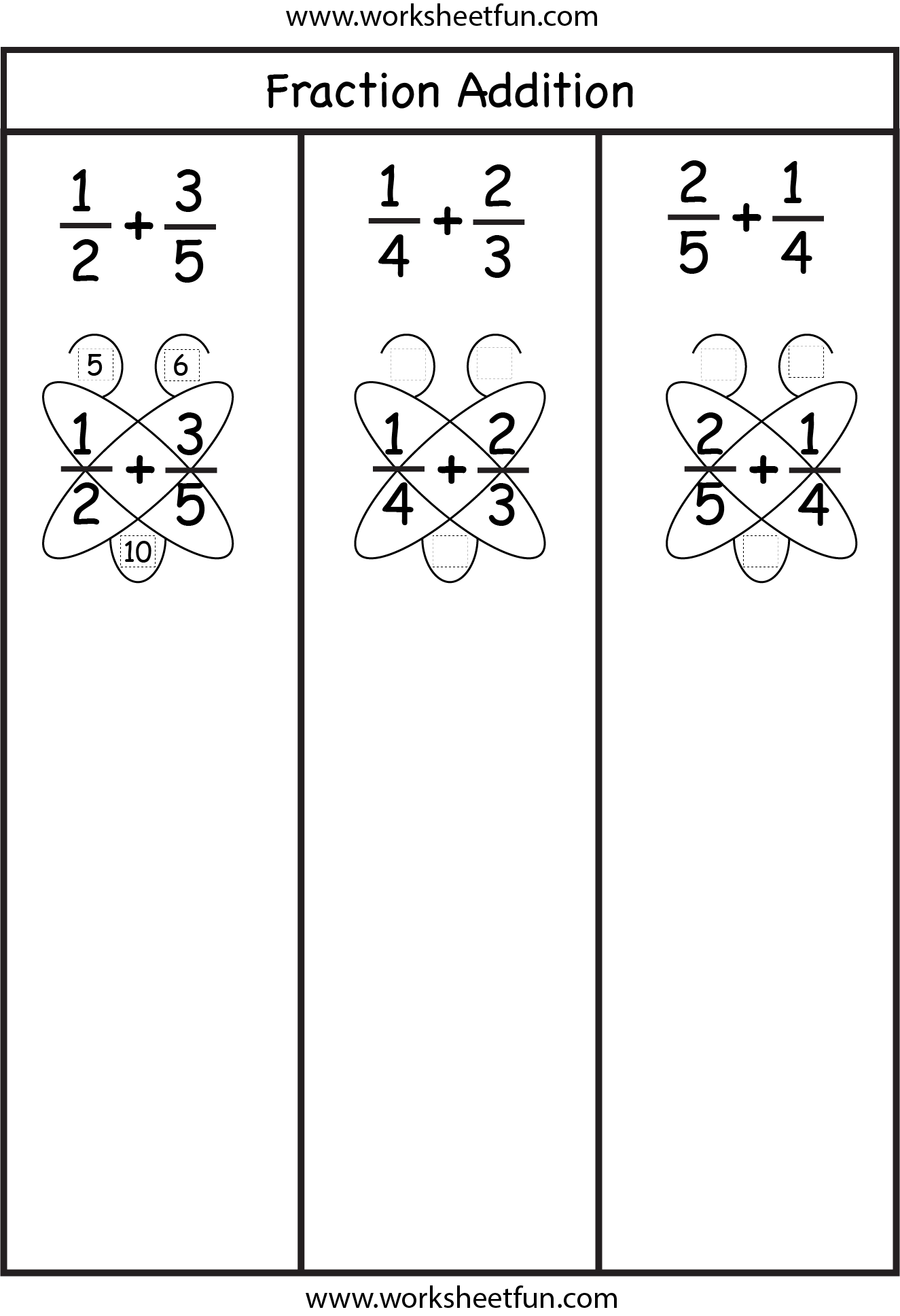 Fraction Addition Butterfly Method Free Printable