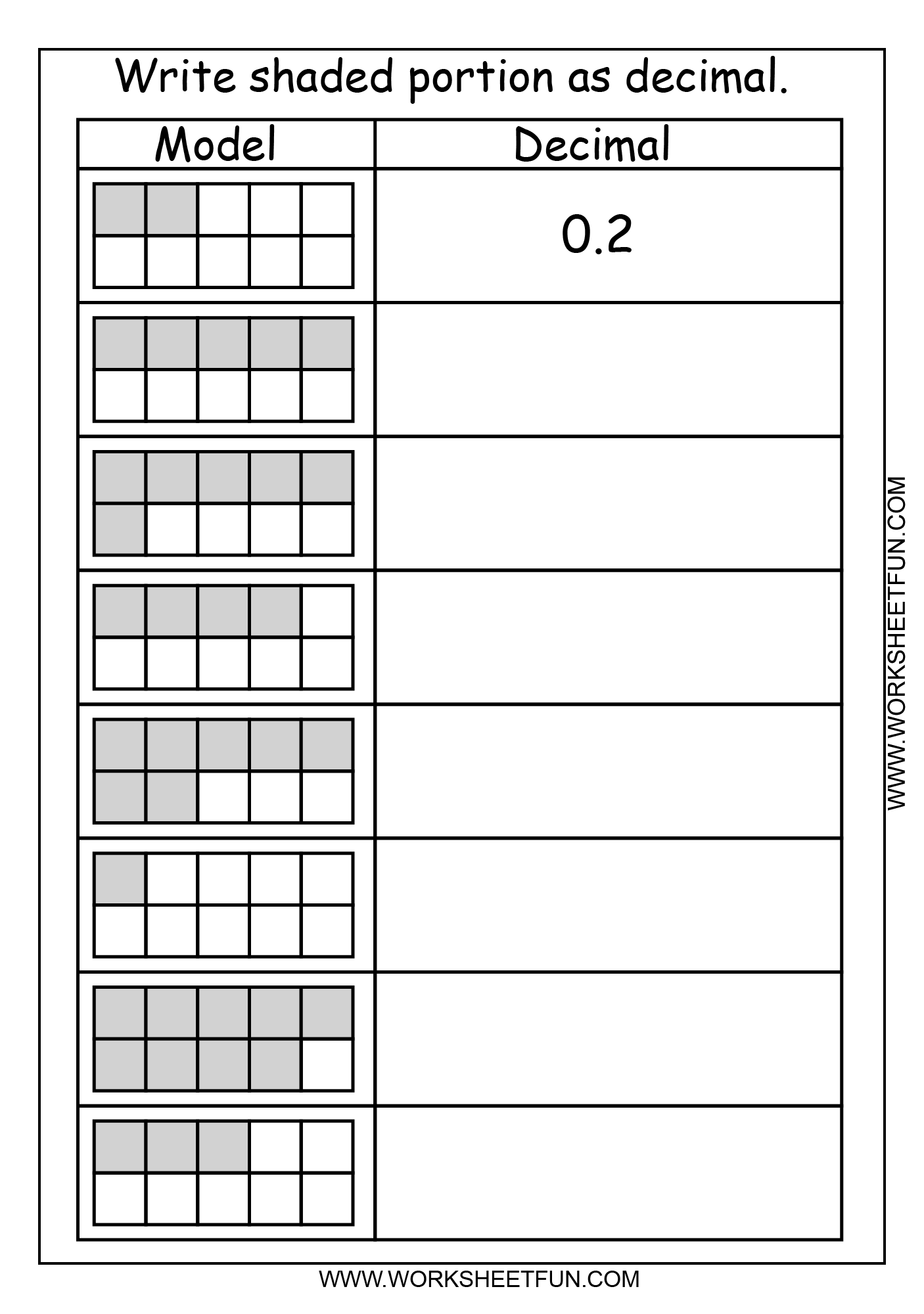 Decimal Grid Worksheets