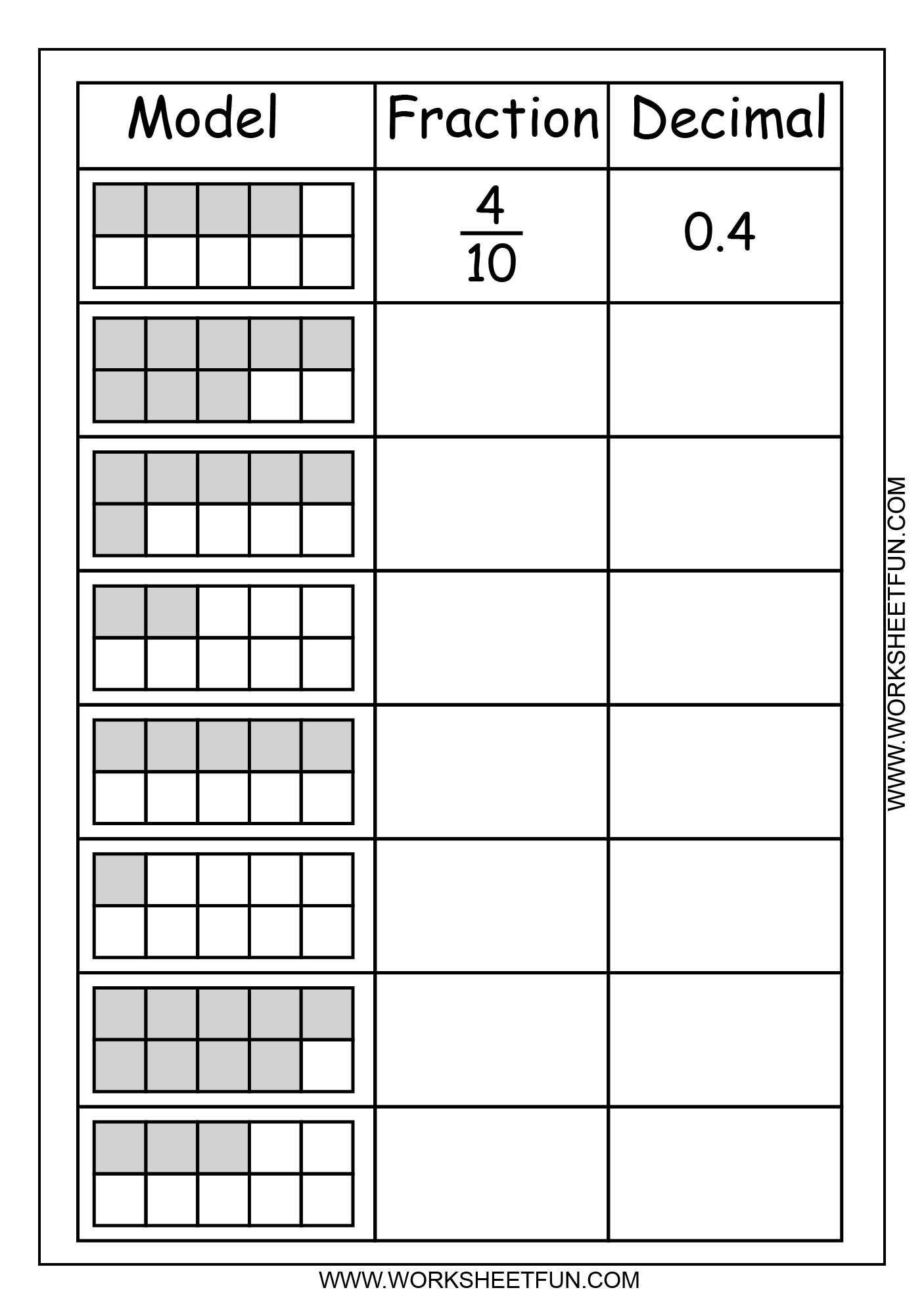 Blank Fraction Number Line Worksheet