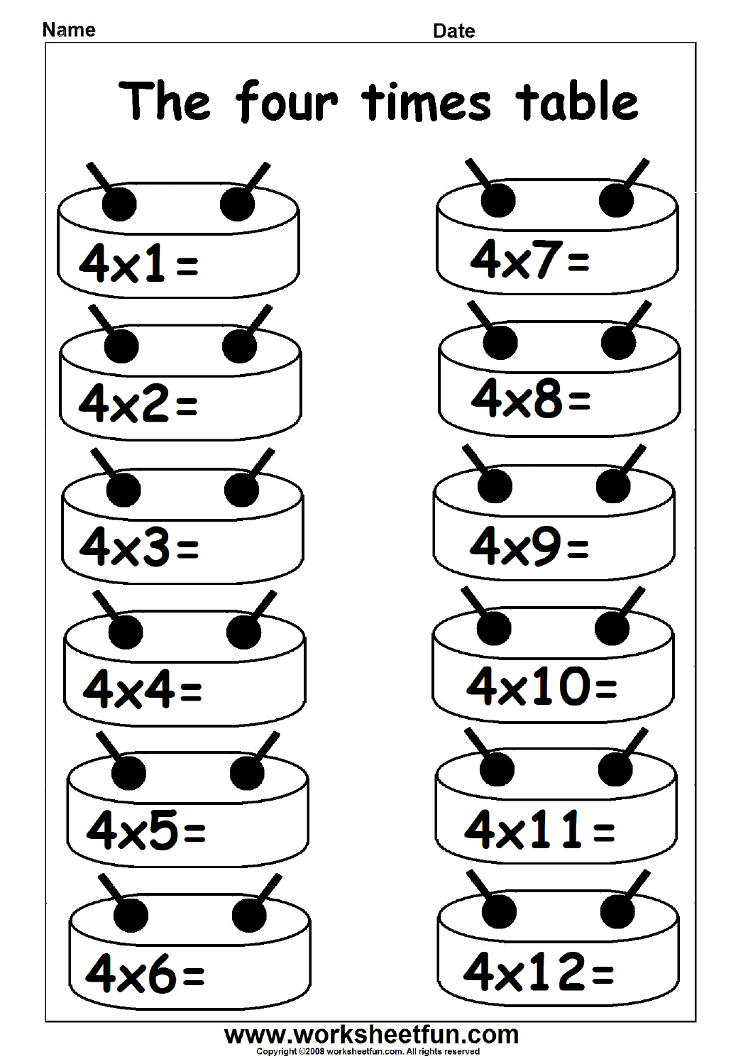 Multiplication Times Tables Worksheets 2 3 4 6 7 8 9 12 13 14 And 16 Times Tables