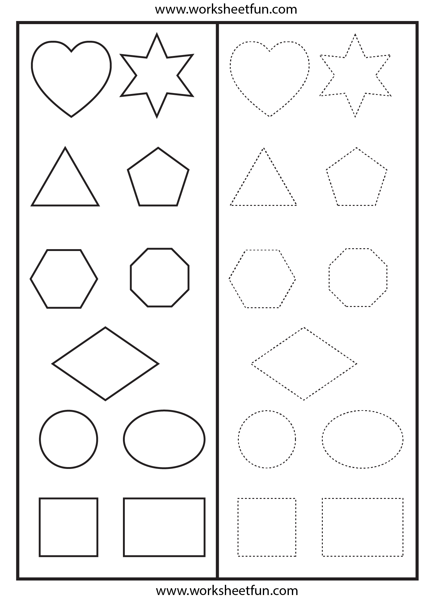 Heart Shape Tracing Worksheet