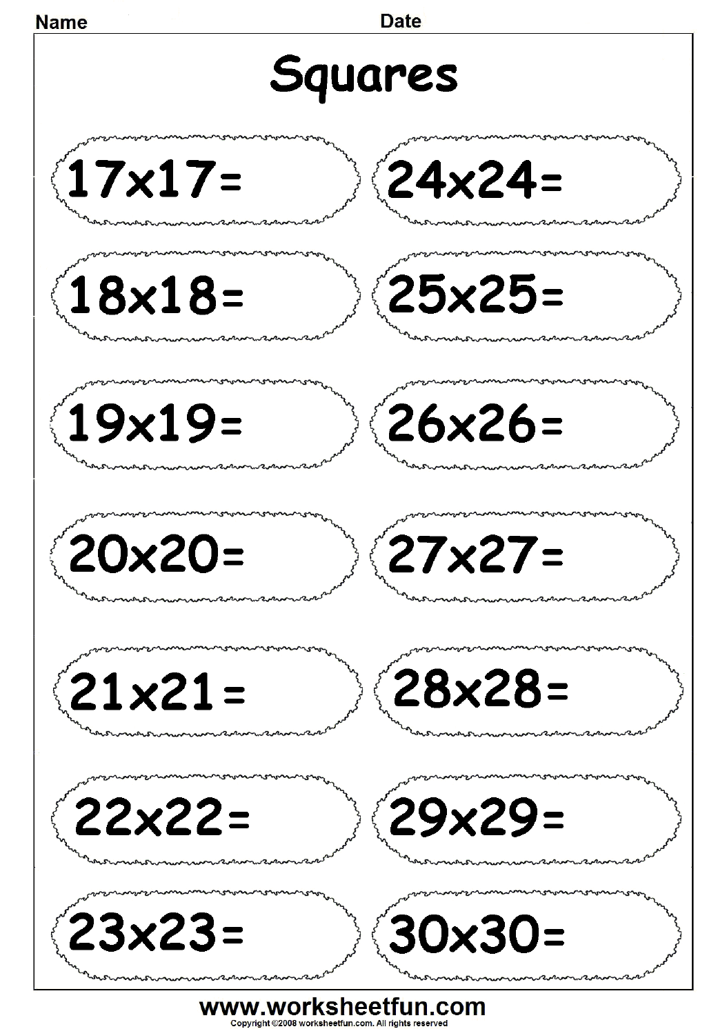 Squares 17 To 30 Free Printable Worksheets Worksheetfun