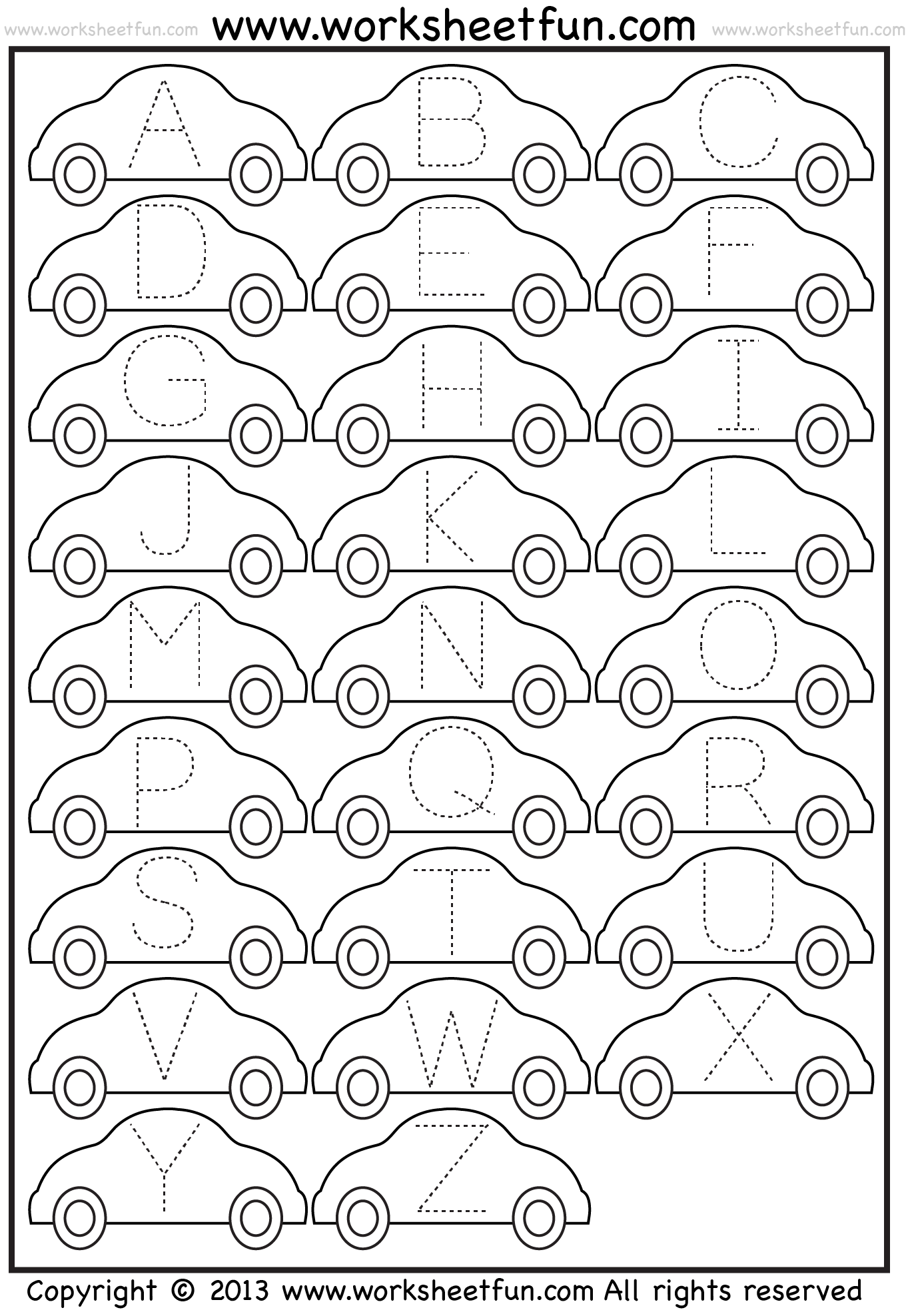 Letter Tracing Worksheet Car Free Printable Worksheets Worksheetfun