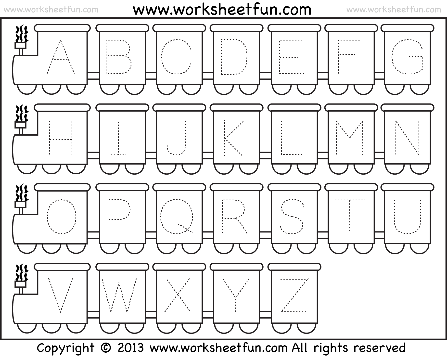 Letter Tracing Worksheet Train Theme Free Printable