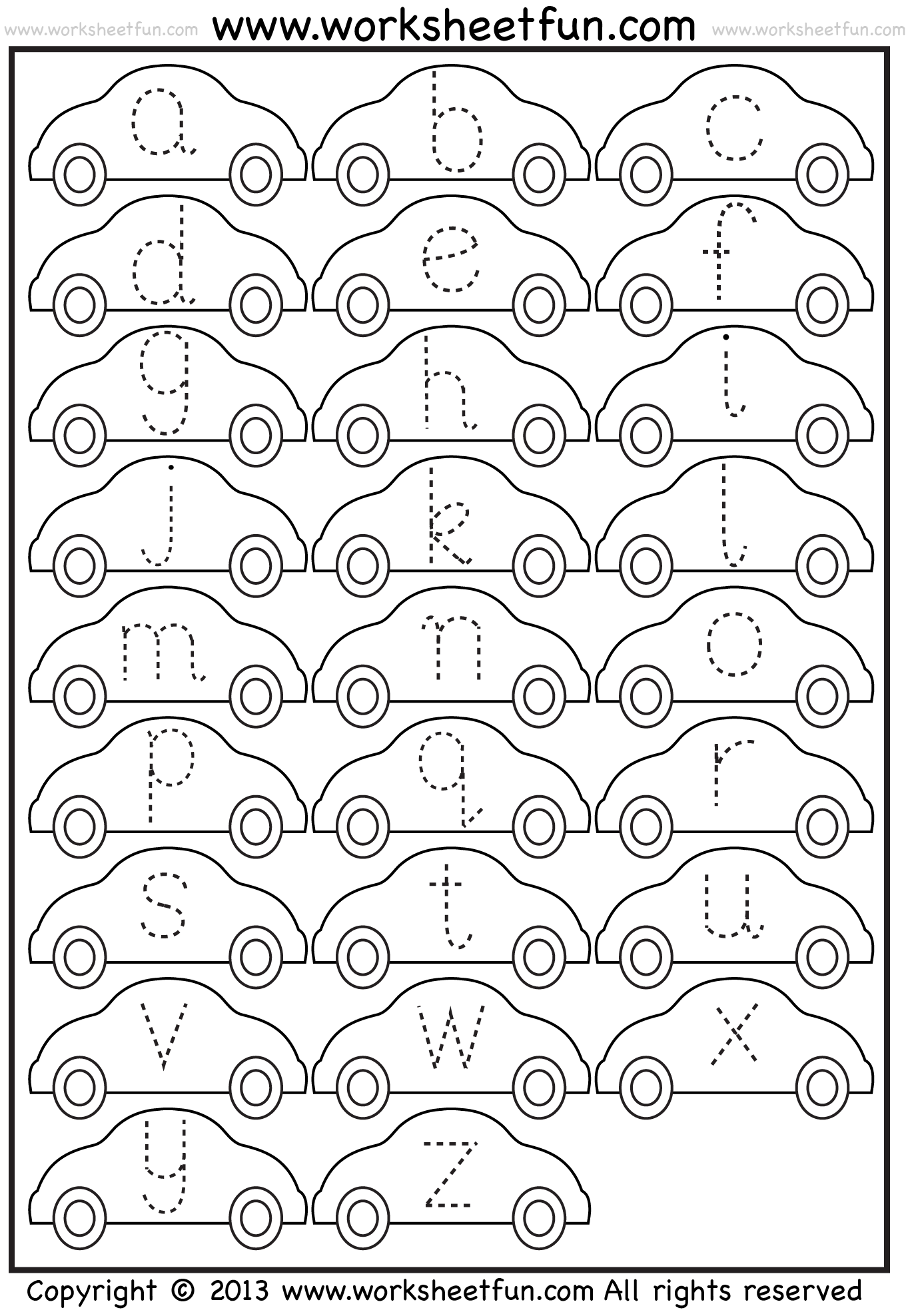 Small Letter Tracing Lowercase Worksheet Car Free Printable Worksheets Worksheetfun