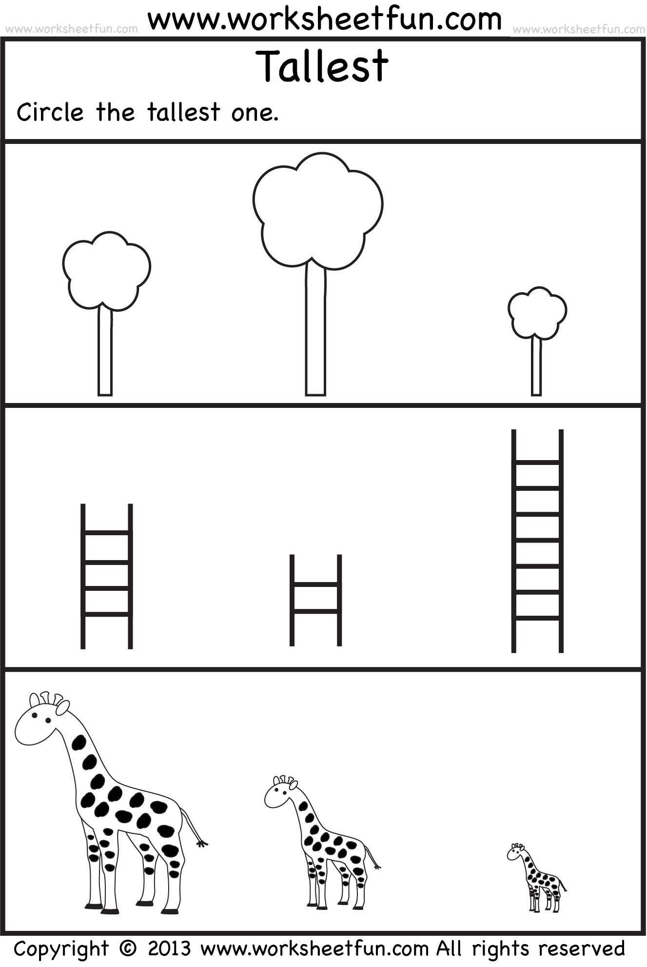 Tallest 2 Preschool Worksheets Free Printable