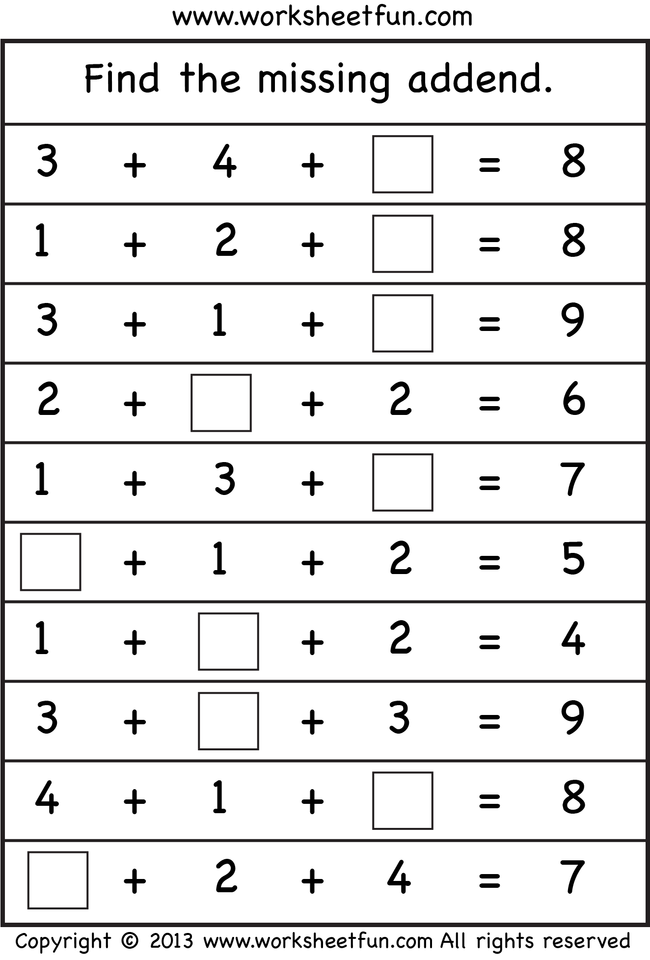 New 934 First Grade Missing Addend Worksheets