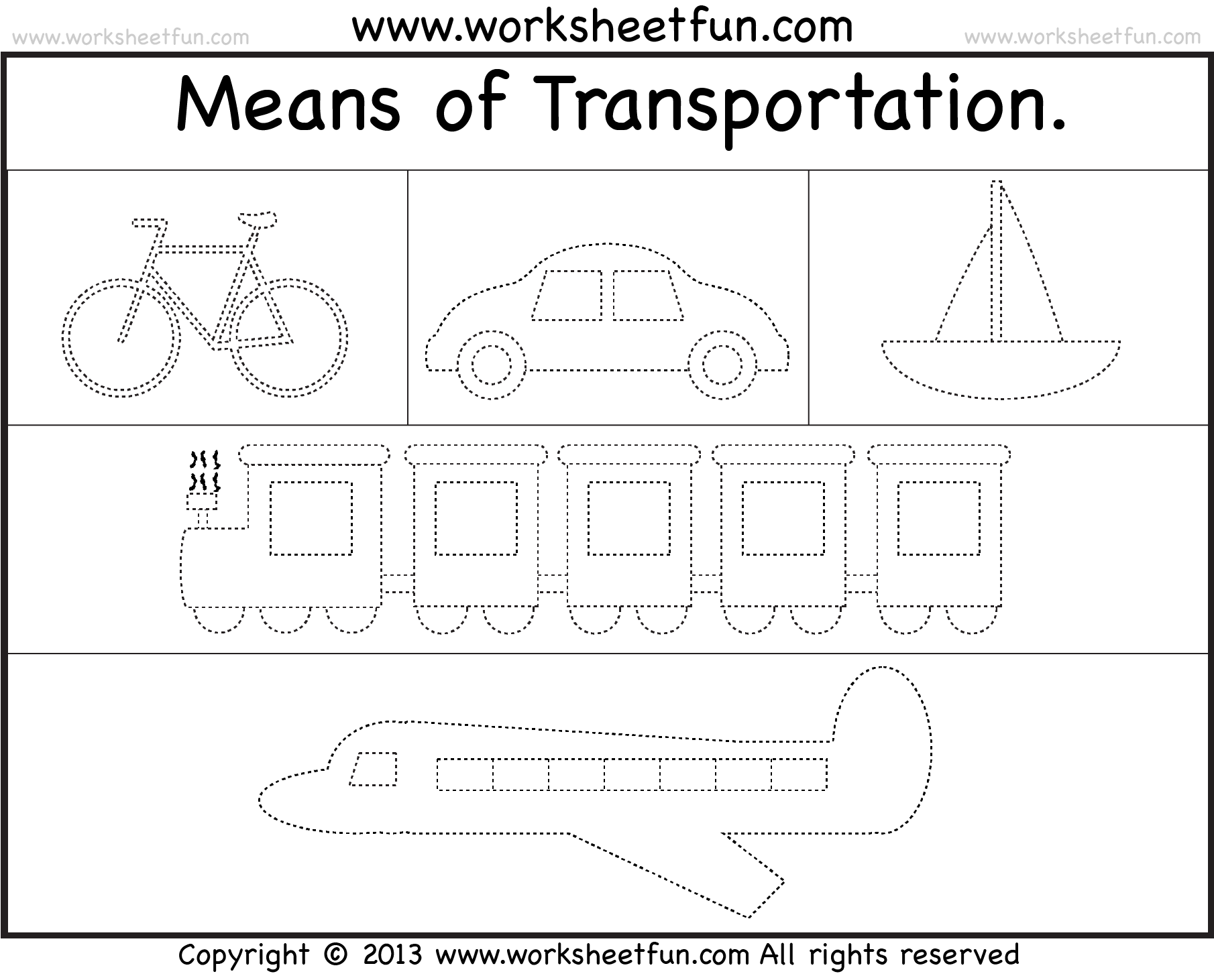 Means Of Transportation Tracing Worksheet Free
