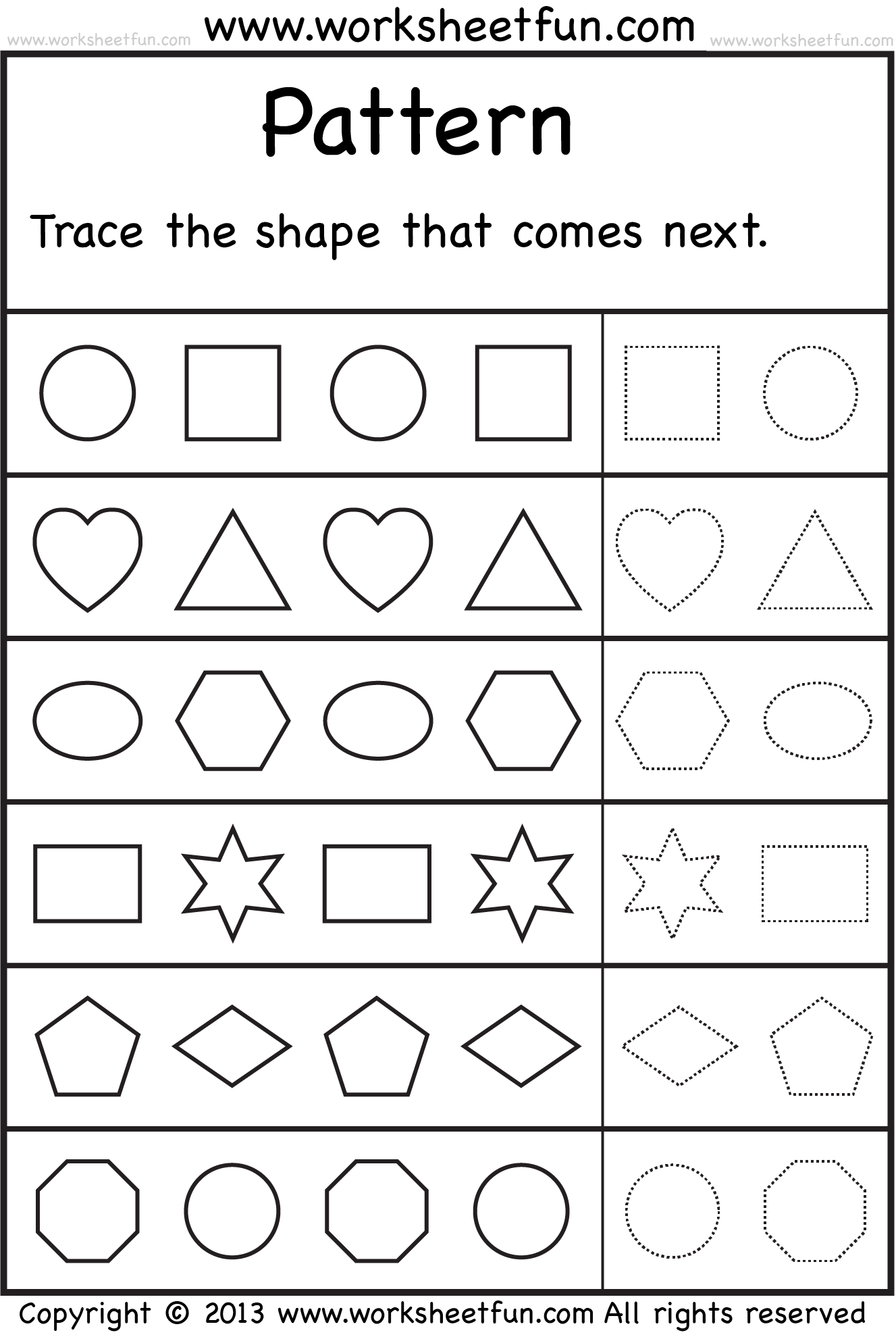 Patterns Trace The Shape That Comes Next 2 Worksheets