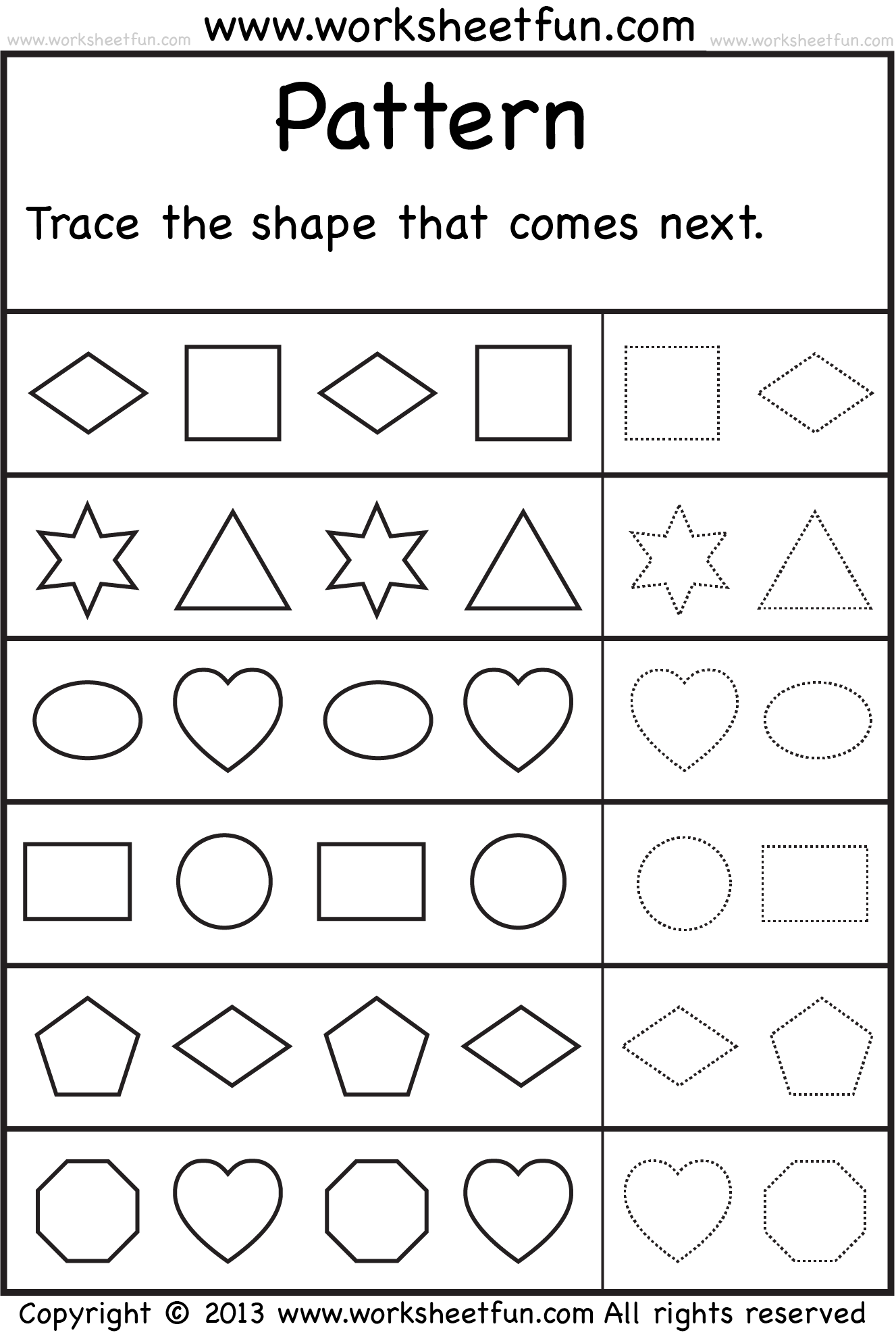 Patterns Trace The Shape That Comes Next One Worksheet Free Printable Worksheets