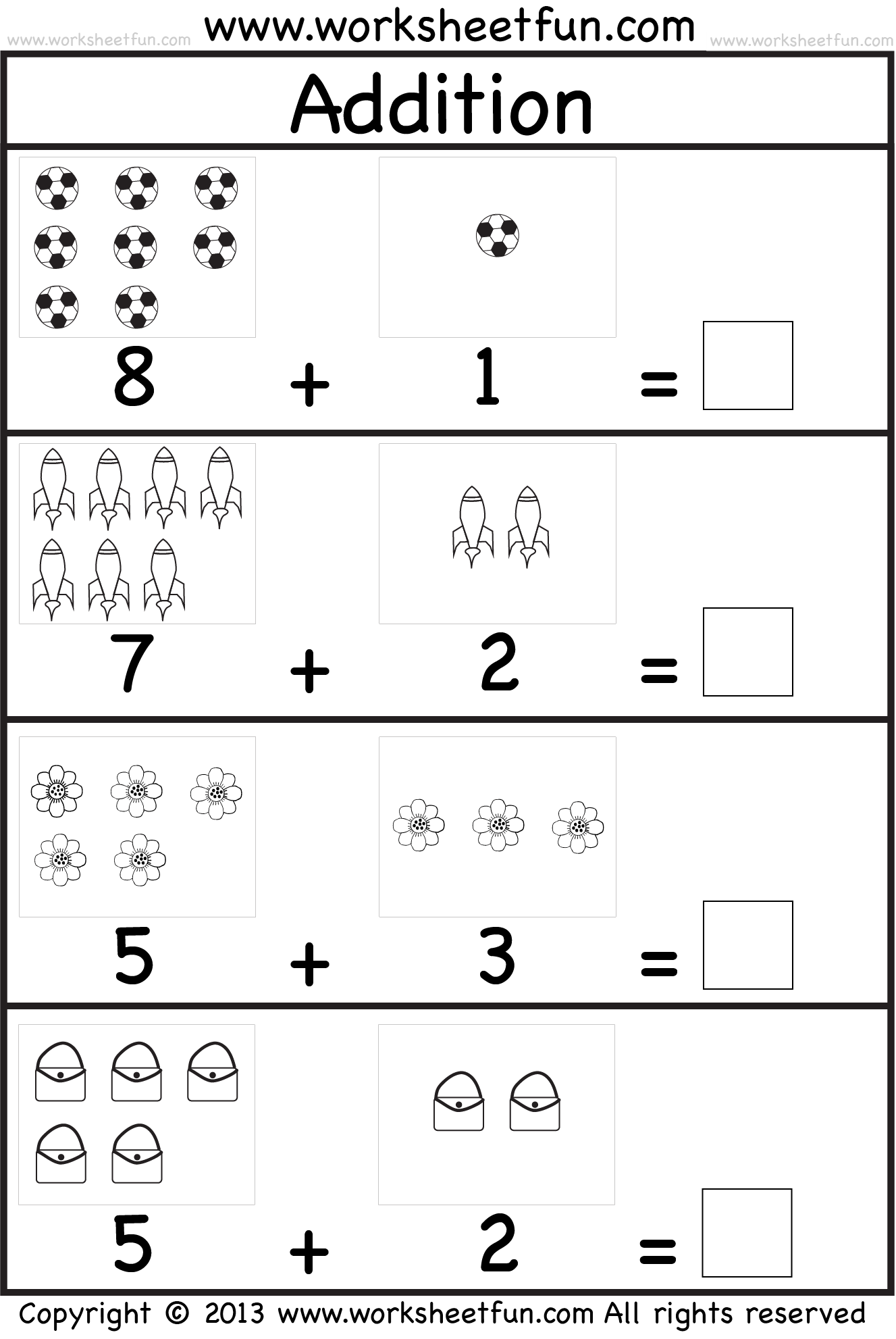 Picture Addition Beginner Addition Kindergarten