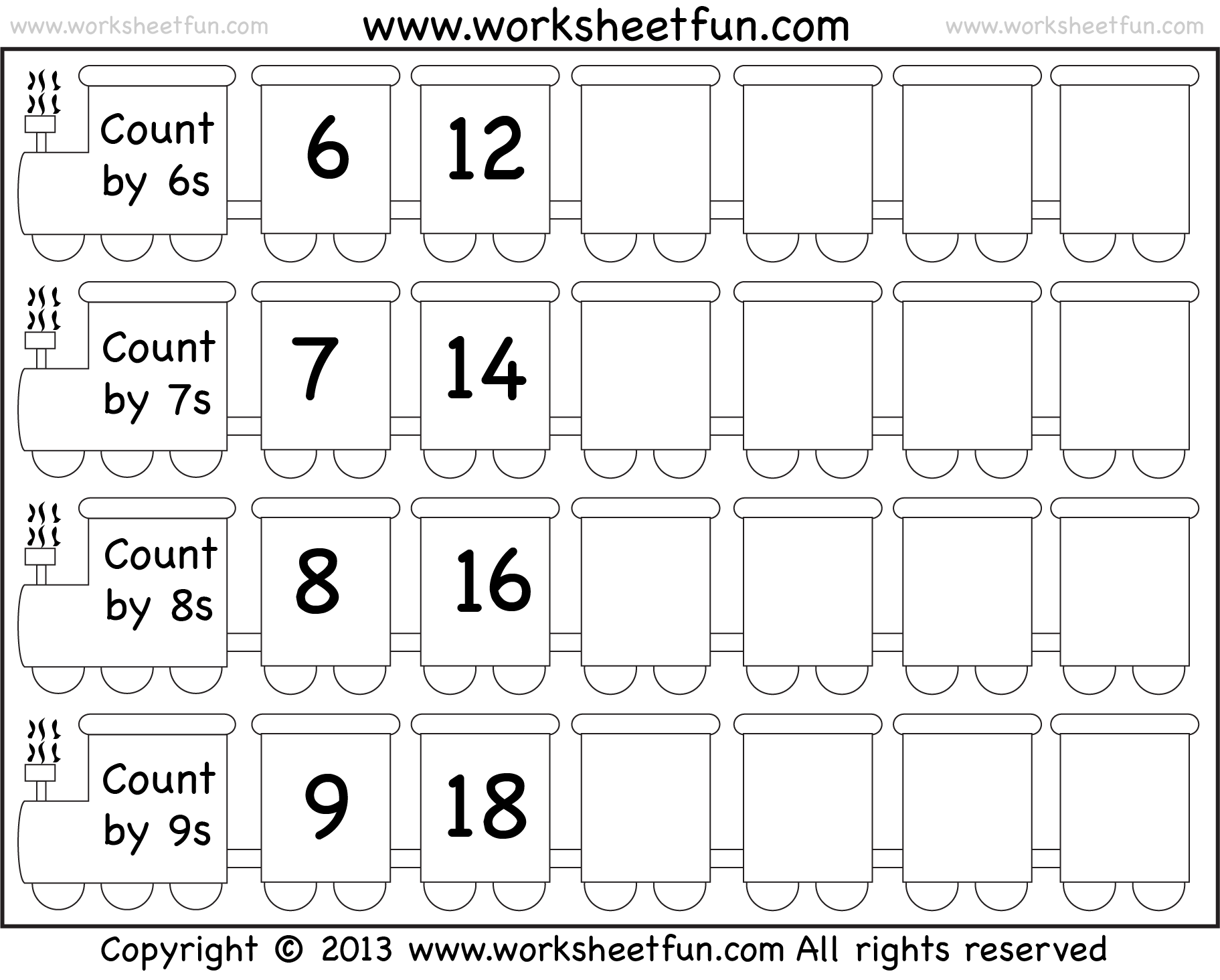 Skip Counting By 6 7 8 And 9 Worksheet Free Printable Worksheets Worksheetfun
