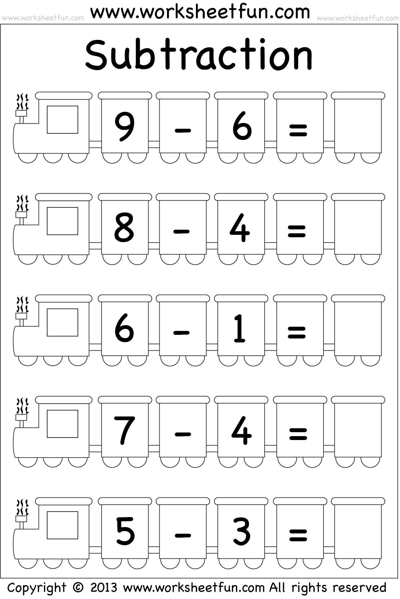 Subtraction Worksheet Kg