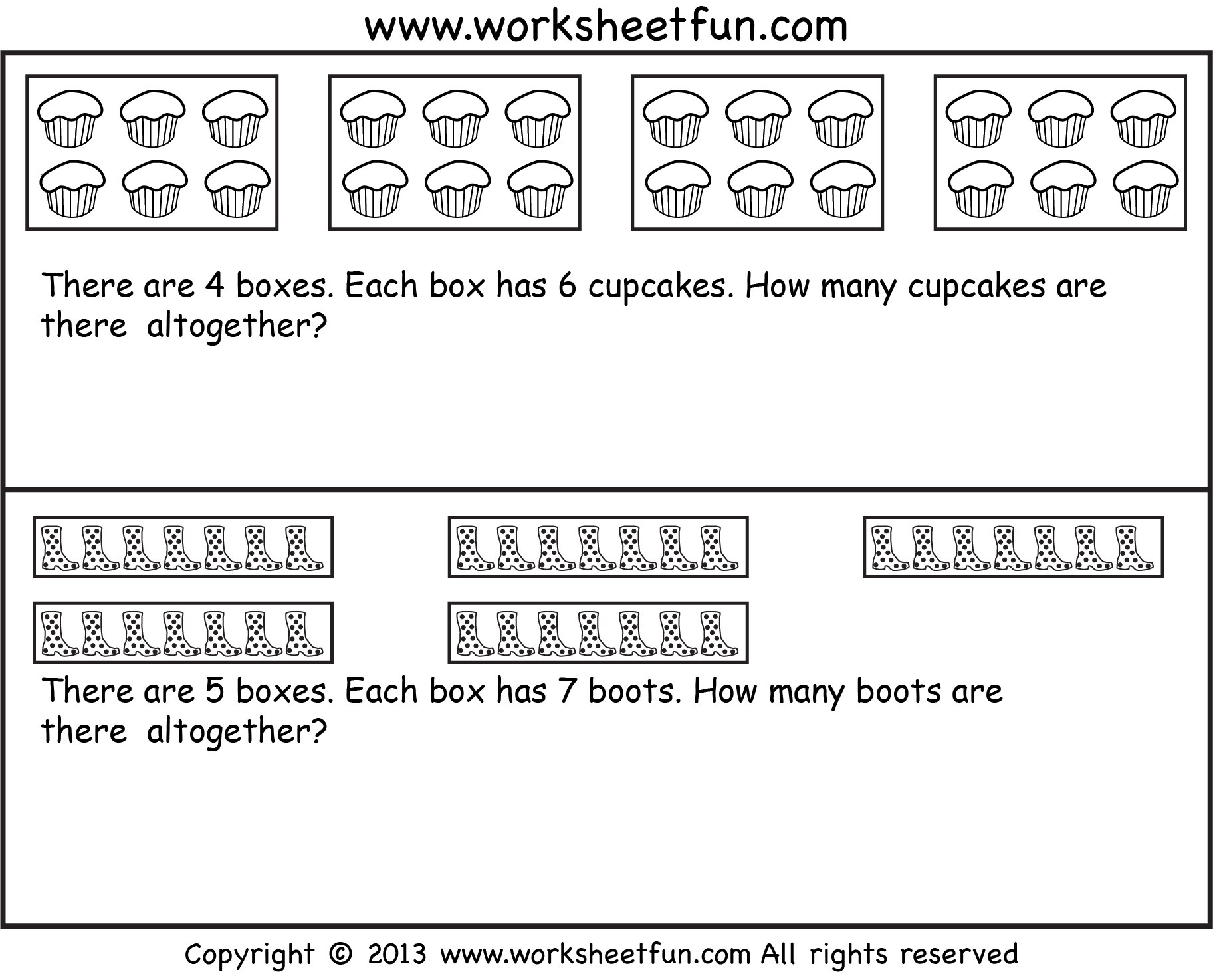 Repeated Addition Multiplication Word Problems Seven Worksheets Free Printable