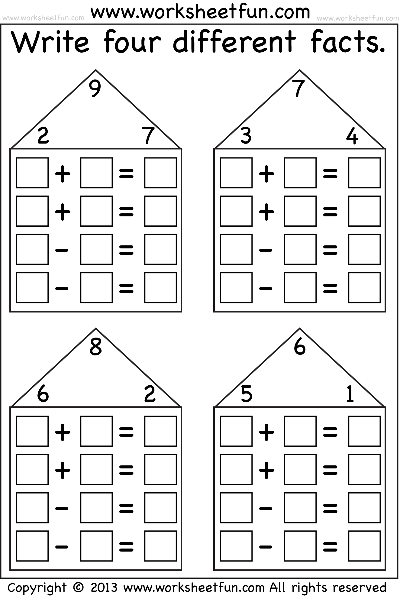 Fact Family Houses 7 Worksheets Free Printable Worksheets Worksheetfun