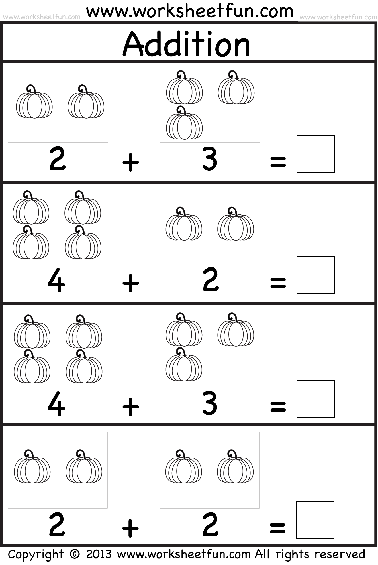 Worksheet For Preschoolers Addition