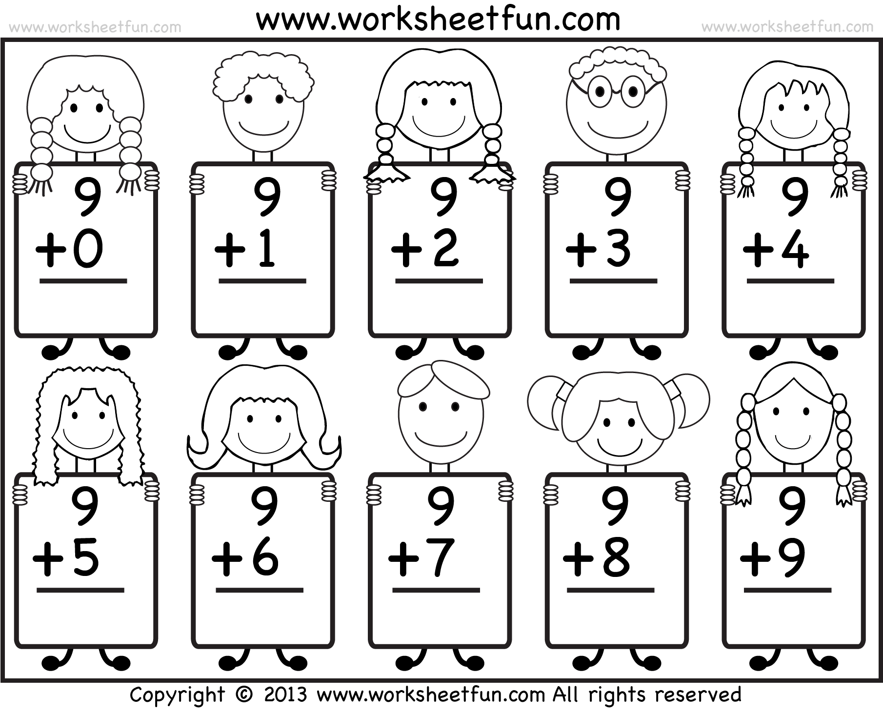 Beginner Addition Basic Addition Facts 9 Kindergarten Addition Worksheets Free Printable