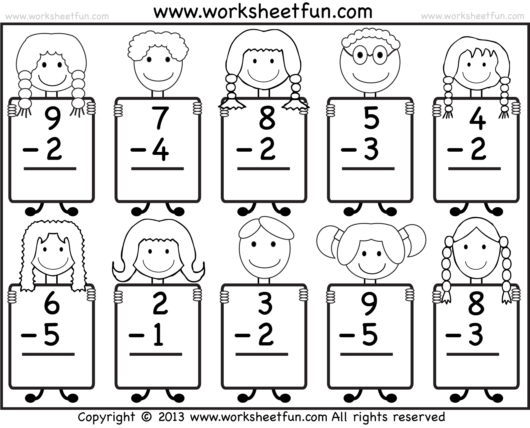 Subtraction Homework Free 1st Grade Math Worksheets