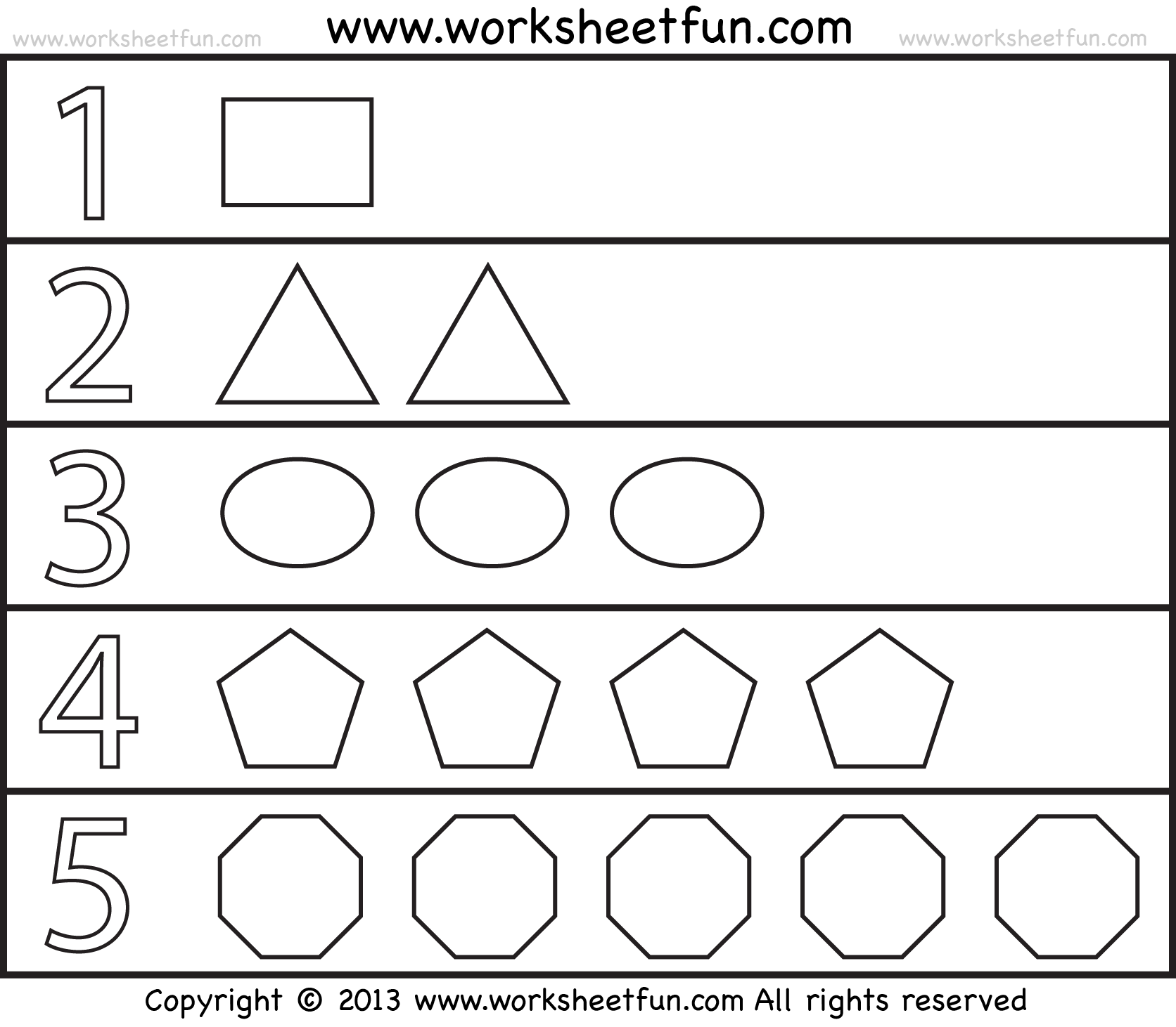 Shapes And Numbers 1 Worksheet Free Printable
