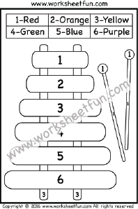 Color By Number Xylophone One Worksheet FREE