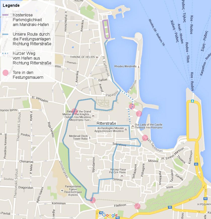 Karte von Rhodos - Altstadt - ©Google