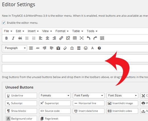 Thêm nút kích thước phông chữ vào thanh công cụ Nâng cao TinyMCE trong WordPress