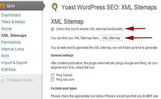Enable XML WordPress Sitemaps in WordPress SEO plugin