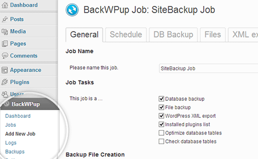 Create a new backup job in BackWPup