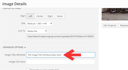 Adding image title attribute in WordPress using visual editor