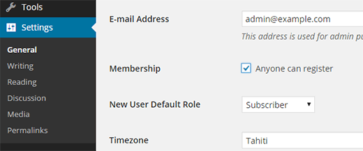 Enabling user registration in WordPress