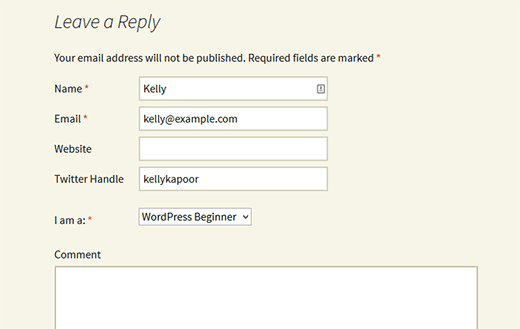 Comment Form Custom Fields