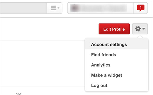 Visiting Pinterest account settings
