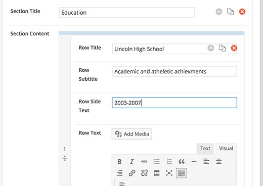 Adding academic and work sections to your resume