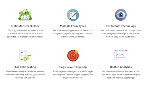 Example of feature boxes on the homepage of a WordPress powered website