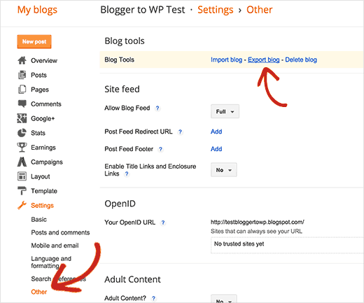 Exporting your Blogger blog
