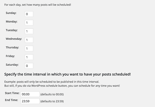 Choose days and number of posts to publish