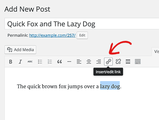 Insert link button in WordPress visual editor