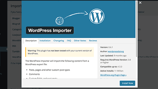 Installing WordPress importer