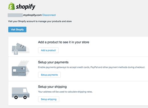 Shopify settings in WordPress